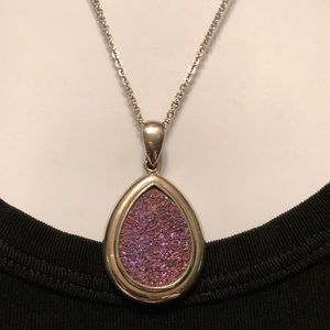 Beautiful Pink Drusy Sterling Silver Necklace